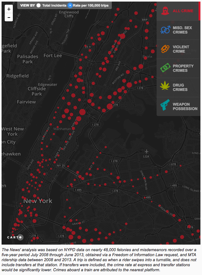 New York subway station crime map per 100,000 people