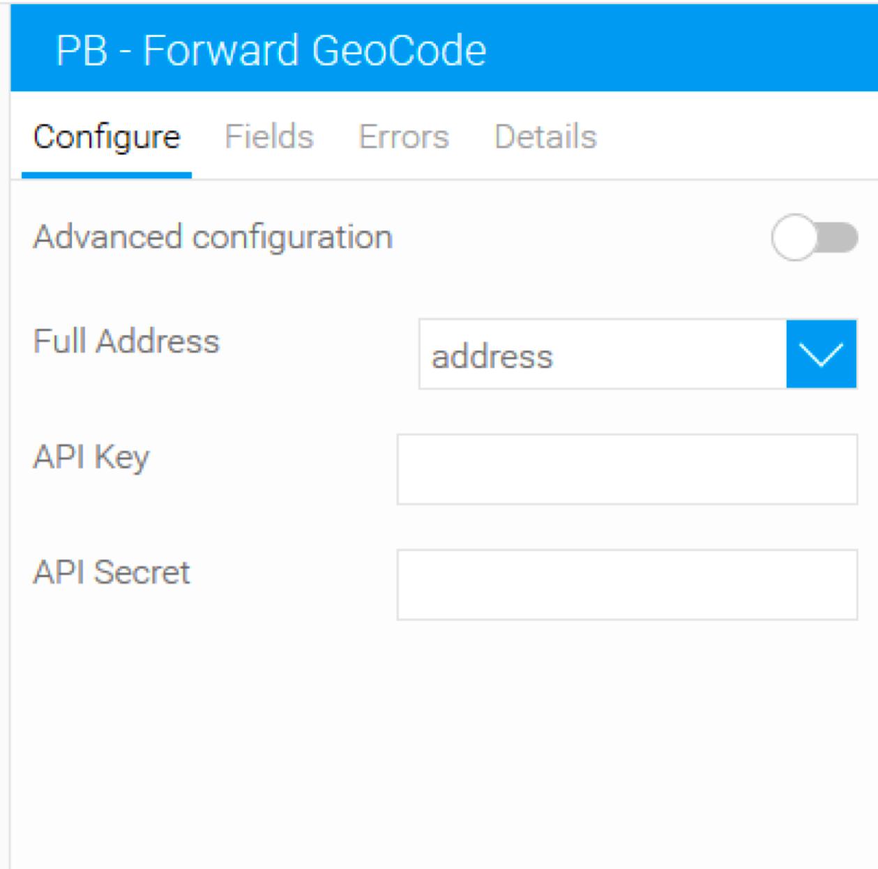 Pitney Bowes forward geocode in Yellowfin - single line address input
